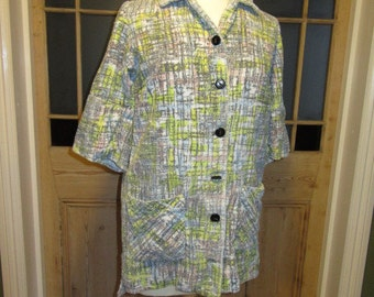 Vintage check print towelling robe jacket great beach cover up