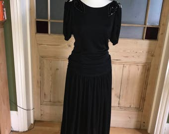 Vintage black beaded dress low back UK 10 - 12 Evenings by Ceremonia