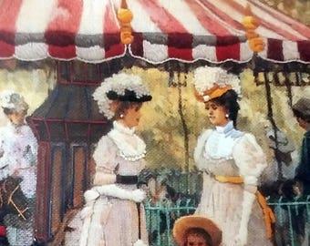 1992 Dimensions Crewel 1401 Summer Carousel Artist Alan Maley Victorian Era