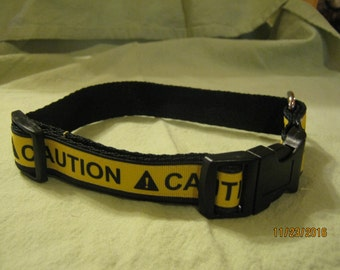 Adjustable Dog Collar, Handmade, CAUTION Design,  Choose S ~ M ~ L / XL