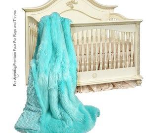 Plush Faux Fur Throw Blanket Bedspread - Super Soft - Baby Nursery - Teal Mint Sea Green - Fur Minky Cuddle Fur Lining - Fur Accents - USA