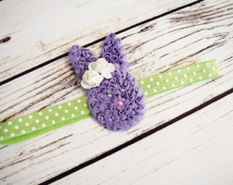 Handcrafted Lavender and Green Easter Bunny Headband - Easter Baby Bows - Tulip Headband - Polka Dot Headband - Easter Toddler Headbands