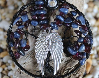 Tree of Life - Sapphires and Garnets Tree with Wings