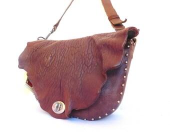 original unique brown leather bag