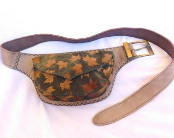handmade practical leather hip bag with inner pockets