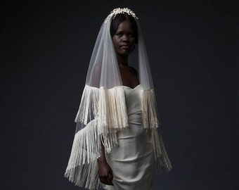 HOXTON VEIL - double-layered, circle-cut fingertip length veil finished with a looped, fringe trim