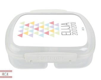Lunchbox with a subtle pattern and your text