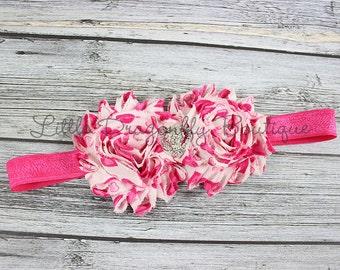 Pink hearts double shabby {Valentine's headband, pink heart headband, shabby headband, newborn headband}