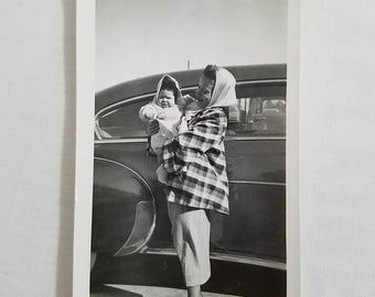 Black and White Snapshot Vintage Photograph 50's Picture Mama Baby Mid Century Automobile
