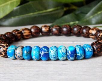 Mens Earth Beaded Bracelet, Mens Wood Bracelet, Men's Bracelet, Men Blue Bracelet, Men's Strength Bracelet, Gift for Him, Man Bracelet