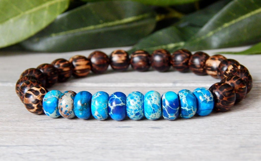 Mens Earth Beaded Bracelet Mens Wood Bracelet Men's