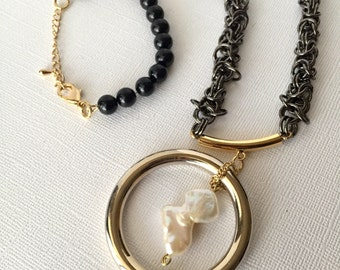 Gold ring chainmaille statement necklace , Baroque pearl pendant, modern chic necklace , Christmas gift