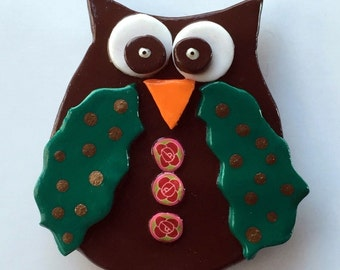 Owl Magnet Handmade Polymer Clay Kitchen Fridge Decoration Home Decor Office Decor(1)
