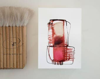 Red stone-Abstract art-Ink art drawing, red,pink,minimal drawing,modern art,geometric,structural forms,abstract painting by Cristina Ripper