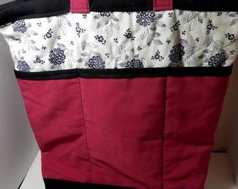 Quilted Shoulder Tote Purse - Fuschia and Black Floral Tote