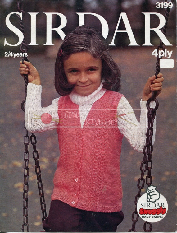 "Girl's Sweater and Sleeveless Jacket 22/24"" 4ply Sirdar 3199 Knitting Pattern PDF instant download"