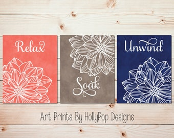 Relax Soak Unwind Bathroom art Spa decor Bathroom quote Navy coral floral burst bathroom decor Bathroom artwork Flower bathroom art #1668