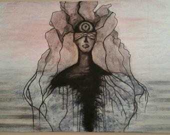 Original Under the Skin by Caleb Rocha, fine art Acrylic Painting Spirit Journey Jung Unconscious Mind Shadow Aged Patina, Desert Punk