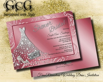 Wedding Dress Invitation, Bridal Shower, Rhinestone wedding Gown invitation, Bridal Shower invitations, Glitz and Glam Inviations