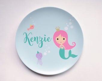 Personalized Melamine Plate - Mermaid, Summer, Beach