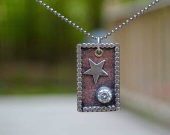 CZ Crystal Southwestern Necklace . Copper . Turquoise . Hand Stamped Sterling Necklace . Handmade . Rustic . Sterling Necklace. Relics