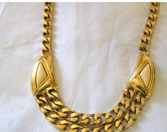 Retro necklace - gold toned necklace - 16 inch  - women's necklace - costume jewelry - necklaces - women's jewelry - double strand