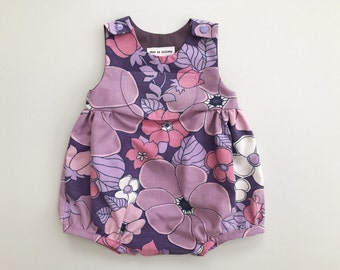 SALE Girls romper, 6 to 12 months, purple baby girls playsuit, baby romper, boho baby clothes, hippie baby girl clothes