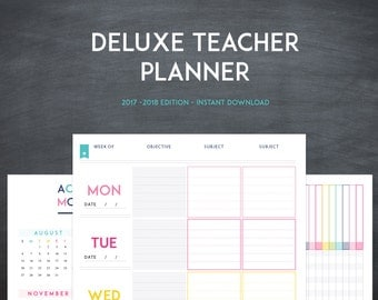 Deluxe Teacher Planner -  INSTANT DOWNLOAD - 20+ Organizational Printables - Teacher Lesson Planner -  2017-2018 - Classroom Organization