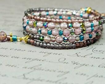 Purple Jewellery, Plum Bracelet, Purple Bracelet, Purple Cuff, Beaded Bracelet, Purple Cuff, Gypsy Bracelet, Bohemian Cuff, Boho wrap,  OOAK