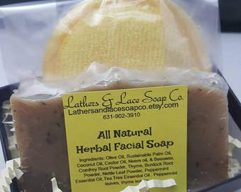 ALL NATURAL HERBAL Facial Soap, Herbal Facial Soap For Trouble Skin, Long Lasting Facial Soap. Best Ever Facial Soap