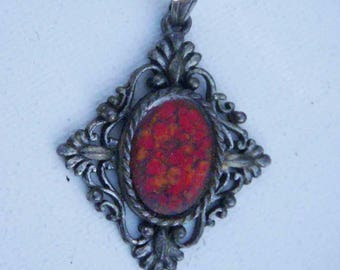 sophisticated vintage diamond-shaped, metal pendant with red cabuchon, circa 1970's (without chain)