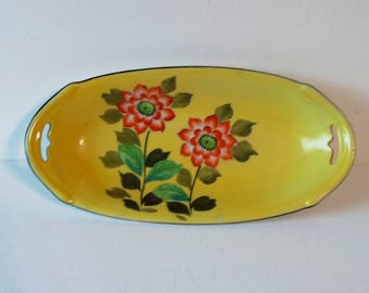 Vintage Hand Painted Yellow Relish Dish - Made in Japan