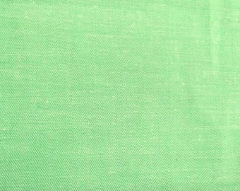 Spring Green Lightweight Cotton Linen-Like  VINTAGE Fabric for Decorating and Apparel