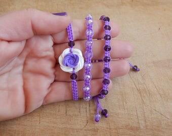 Flower Bracelet - Floral Bracelet - Spring Bracelet - Economy Set of 3 bracelets