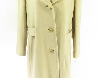 Vintage 70s Cashmere Overcoat Womens 18 Deadstock Capwells Beige [H54K_3-8_Long]