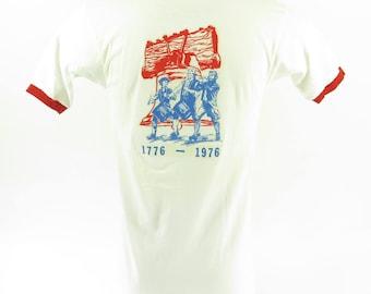 Vintage 70s Liberty Bell T-Shirt Mens L Deadstock White Sanitation Division [H66B_0-6]
