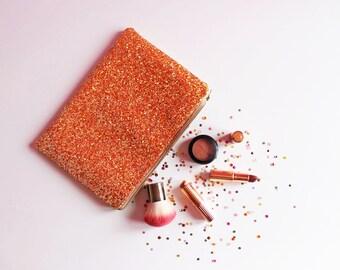 Burnt Orange Glitter Clutch Bag, Sparkly Clutch Bag, Glittery Festival Bag, Orange Party Bag, Burnt Orange Glitter, Sparkly Orange Bag,