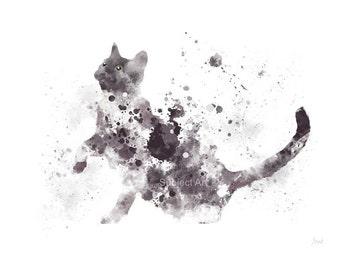 Grey and White Cat ART PRINT Illustration, Cat, Animal, Wall Art, Home Decor