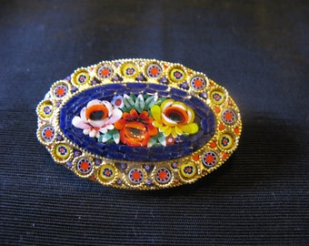 Micro mosaic jewelry, brooch tesserae brooch pin micromosaic Italy Italian glass vintage