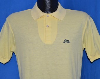 80s Garan Light Yellow Golf Animal Polo Shirt Small