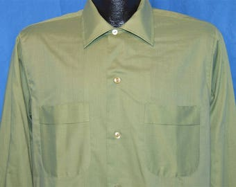 60s Green Dura Press Crisp Long Sleeve Shirt Medium
