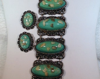 Large Chunky Green Bracelet and Earrings