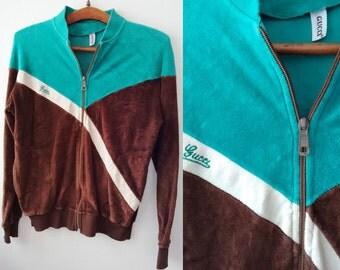 Guuci velvet windbreaker,Guuci  bomber, Guuci Clothing,Guuci Jacket, Vintage 70's guuci,70's guuci top,FREE Shipping