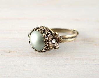 Sage Green Swarovski Crystal Pearl Ring - Adjustable Custom Size Antique Style Brass Crown Bezel Ring - Bronze Flower Vintage Style Jewelry