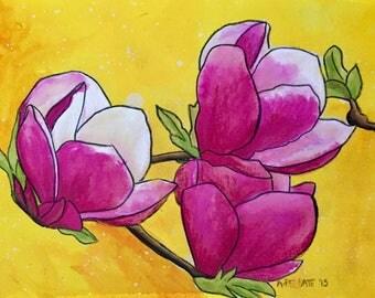 Pink Magnolias Botanical Original Bohemian Art