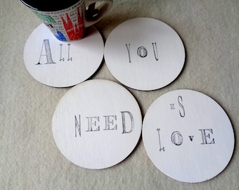 All you need is love, Coasters Set of 4, White Coasters, Wooden Coasters