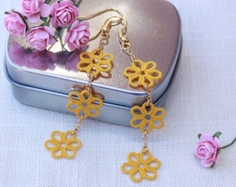 Tatted Lace Earrings - Elegant Delicate Jewelry - Gift For Her