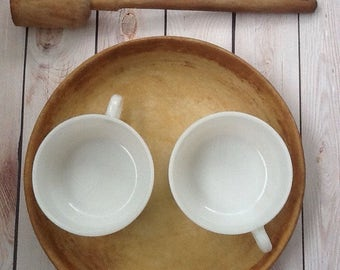 Vintage Glasbake milk glass mug personal soup bowl with handles pair opaque white
