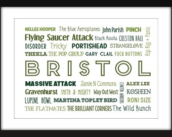 Sound of Bristol 11 x 14/8 x 10/5 x 7   A3/A4/A5 Typography Print  Bristol Bands/Musicians