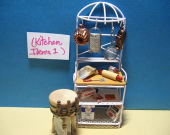 Kitchen, baker's rack, cutting block with tools , dollhouse, miniatures  (Kitchen items 1)